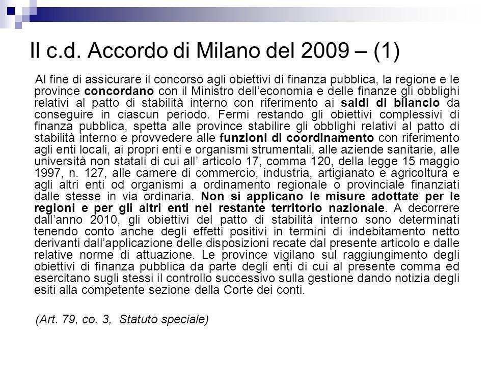 Il c.d. Accordo di Milano del 2009 – (1)