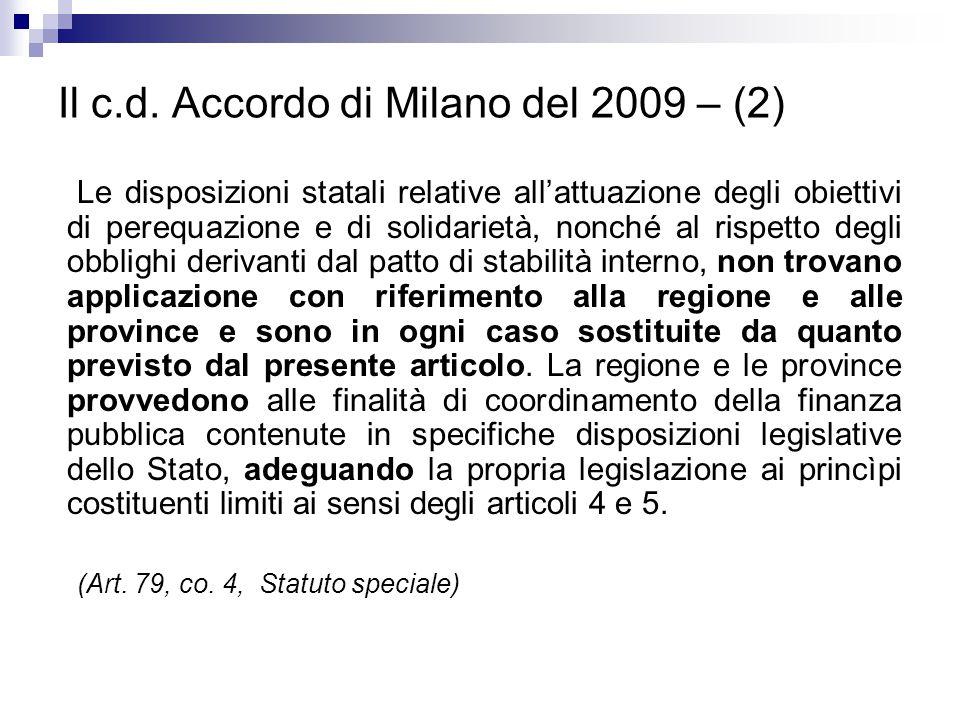 Il c.d. Accordo di Milano del 2009 – (2)
