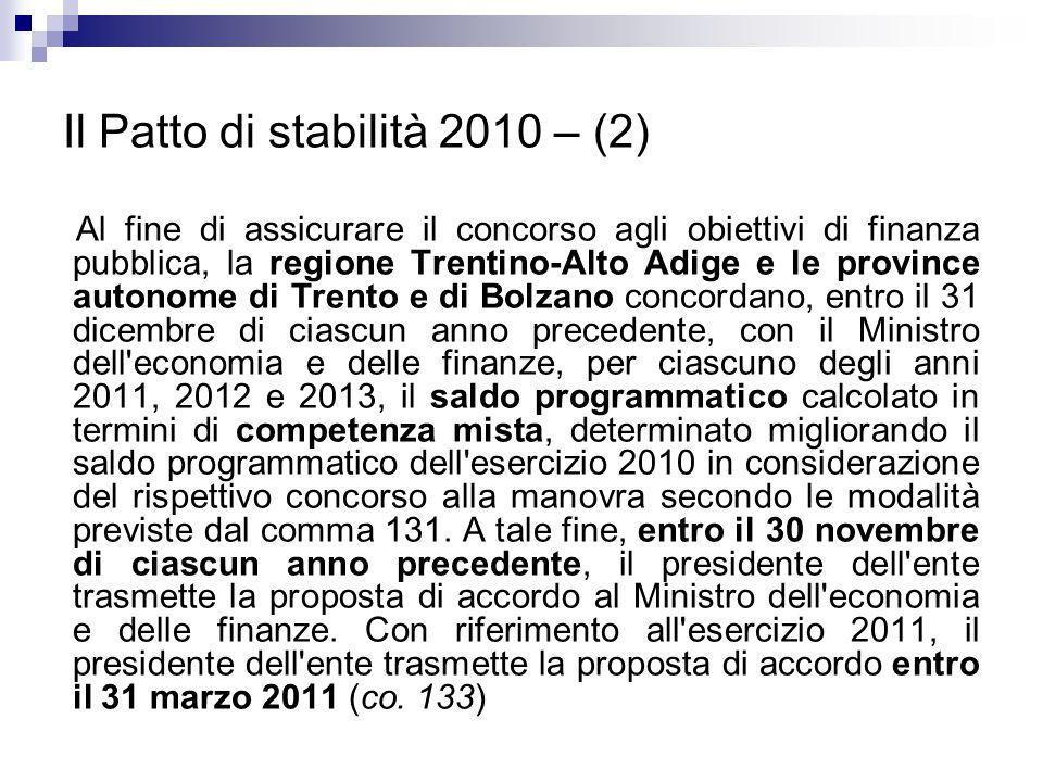 Il Patto di stabilità 2010 – (2)