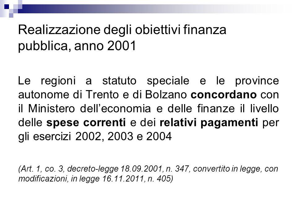 Realizzazione degli obiettivi finanza pubblica, anno 2001