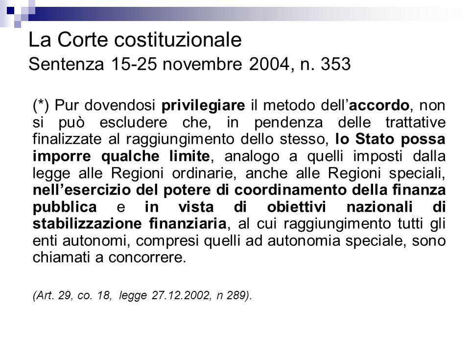 La Corte costituzionale Sentenza 15-25 novembre 2004, n. 353