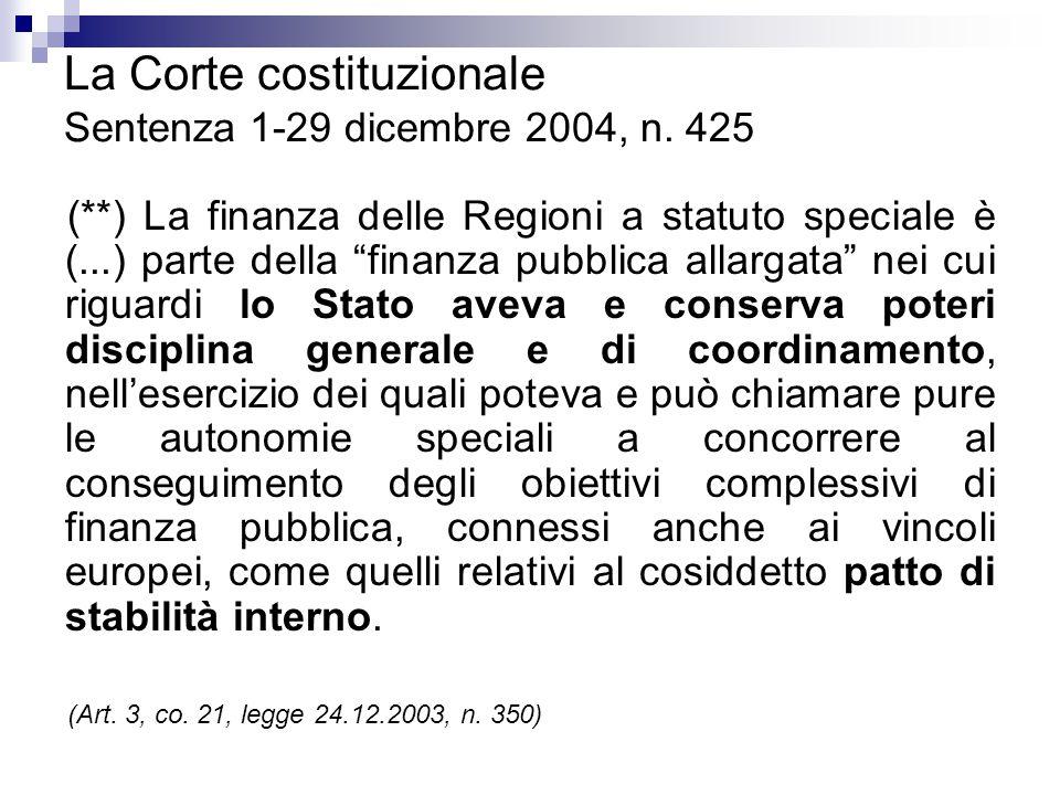 La Corte costituzionale Sentenza 1-29 dicembre 2004, n. 425