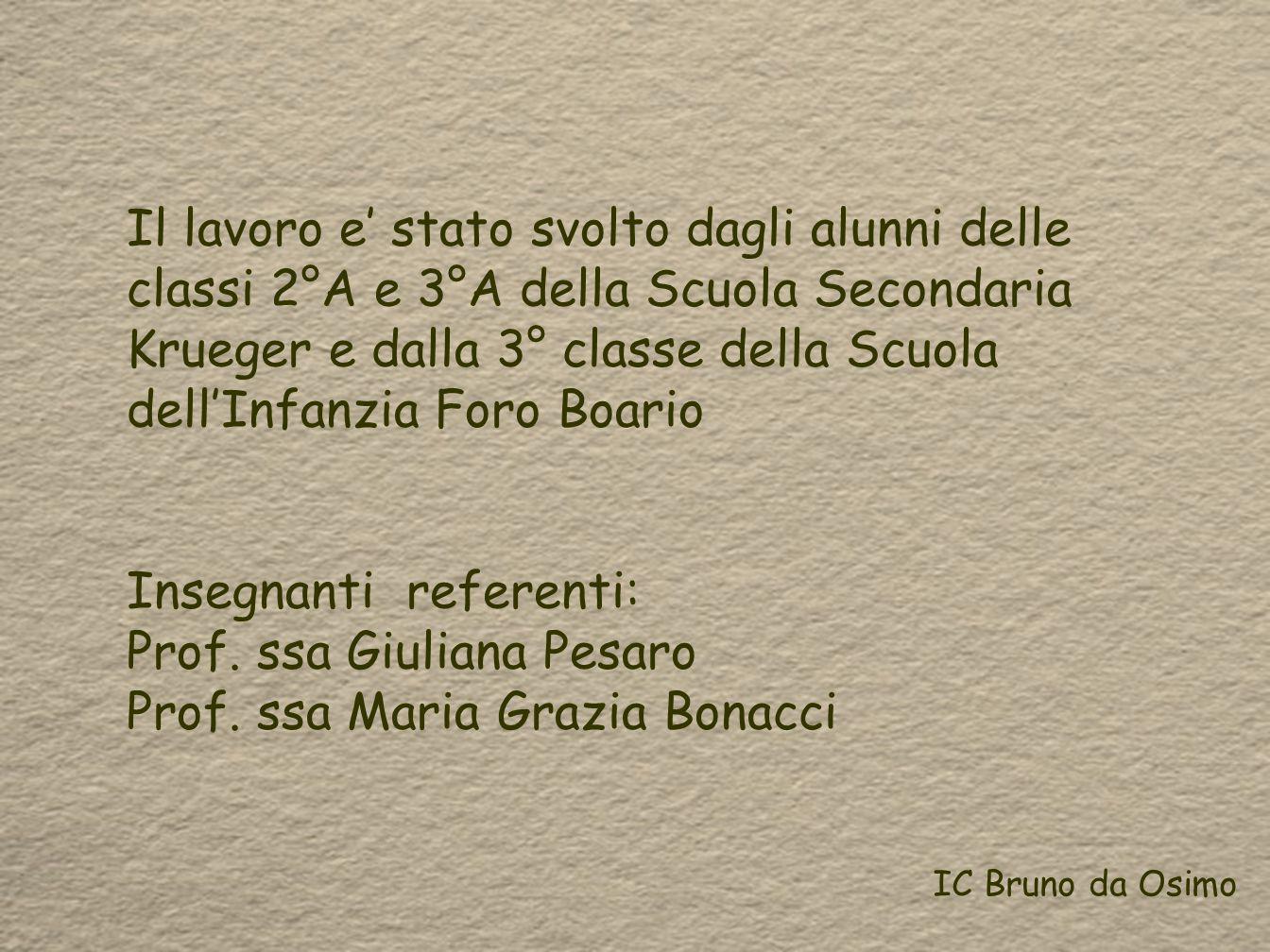 Insegnanti referenti: Prof. ssa Giuliana Pesaro