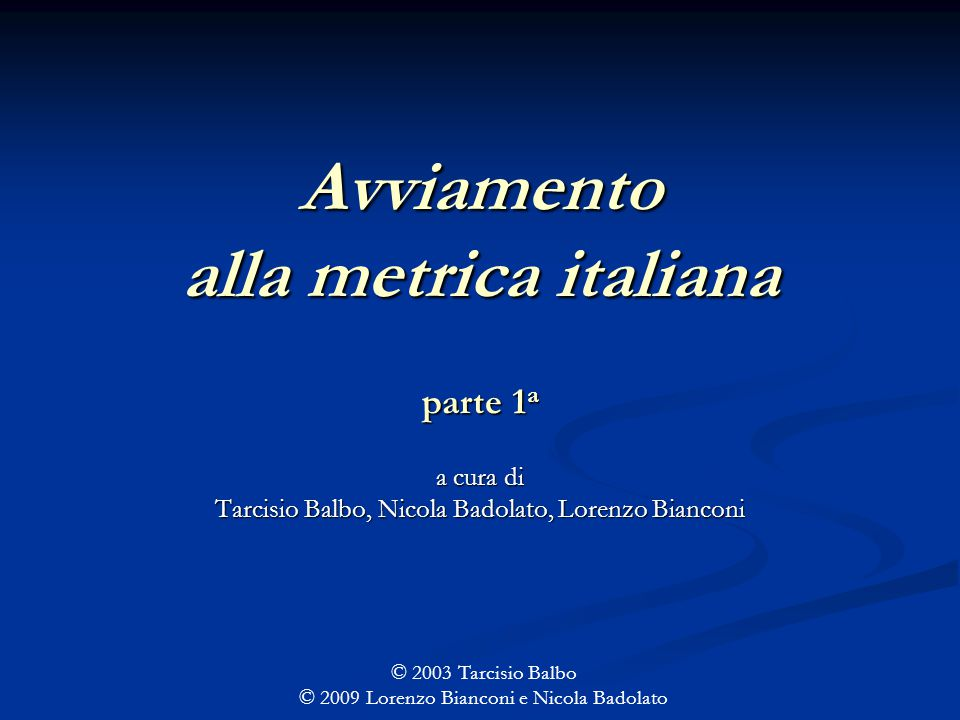 Avviamento alla metrica italiana parte 1a