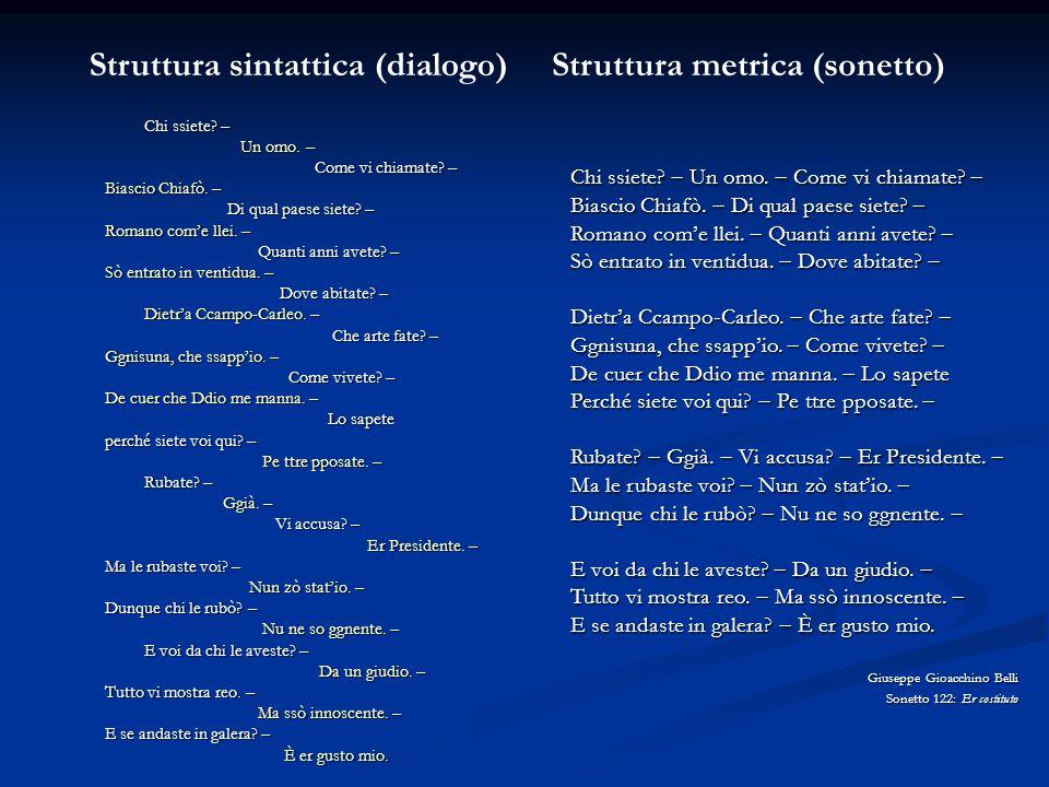 Struttura sintattica (dialogo) Struttura metrica (sonetto)