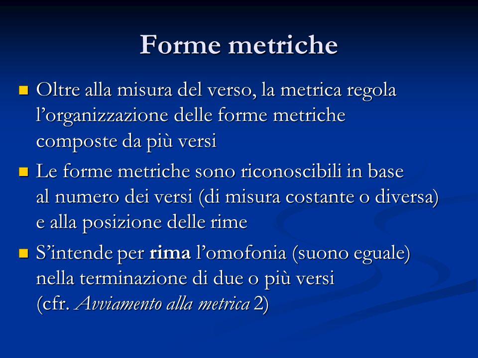 Forme metriche Oltre alla misura del verso, la metrica regola l'organizzazione delle forme metriche.