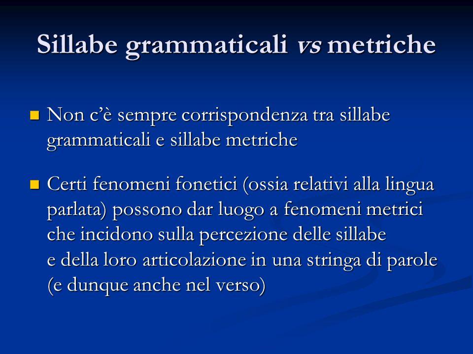 Sillabe grammaticali vs metriche
