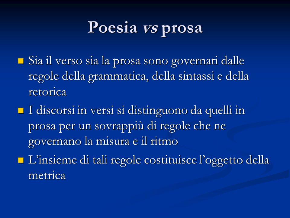 Poesia vs prosa Sia il verso sia la prosa sono governati dalle regole della grammatica, della sintassi e della retorica.
