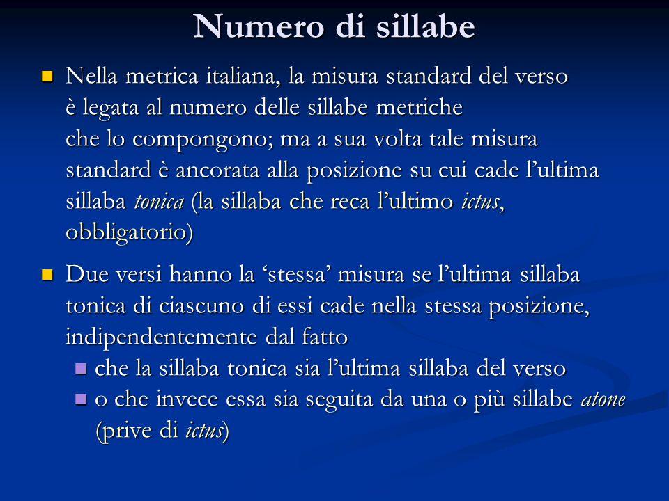 Numero di sillabe Nella metrica italiana, la misura standard del verso