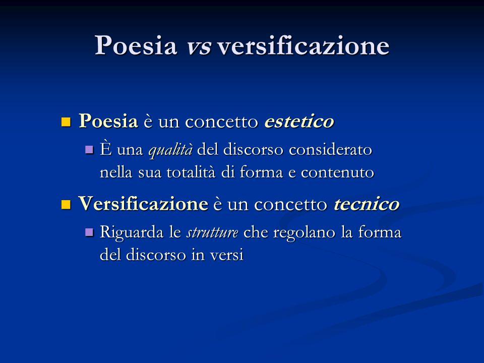 Poesia vs versificazione