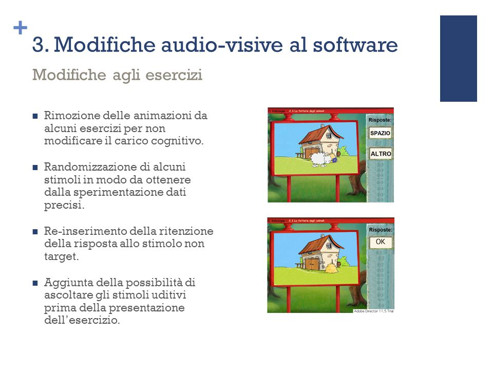 3. Modifiche audio-visive al software