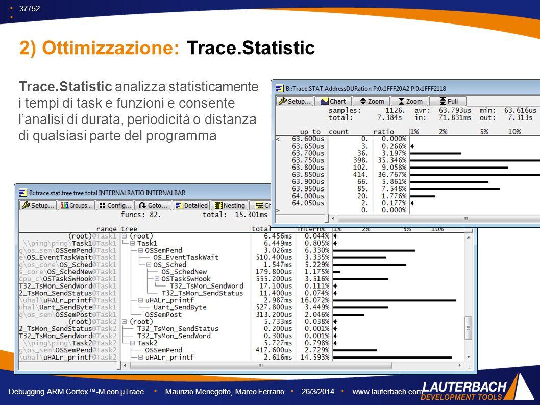 2) Ottimizzazione: Trace.Statistic