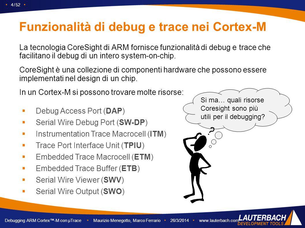 Funzionalità di debug e trace nei Cortex-M