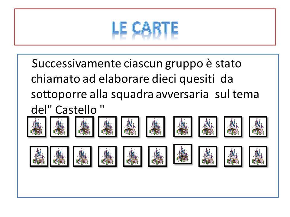 Le carte Successivamente ciascun gruppo è stato chiamato ad elaborare dieci quesiti da sottoporre alla squadra avversaria sul tema del Castello