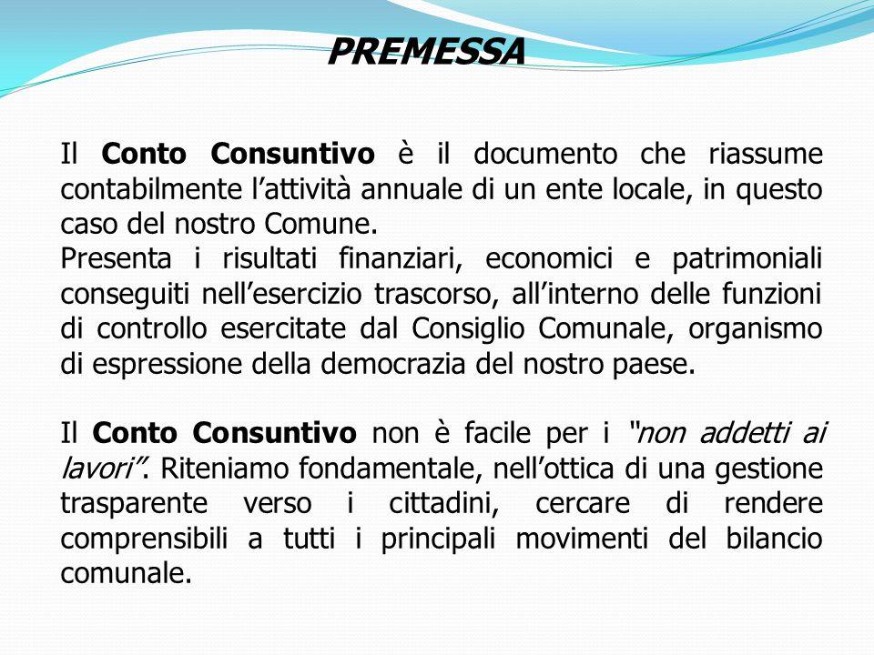 PREMESSA Il Conto Consuntivo è il documento che riassume contabilmente l'attività annuale di un ente locale, in questo caso del nostro Comune.