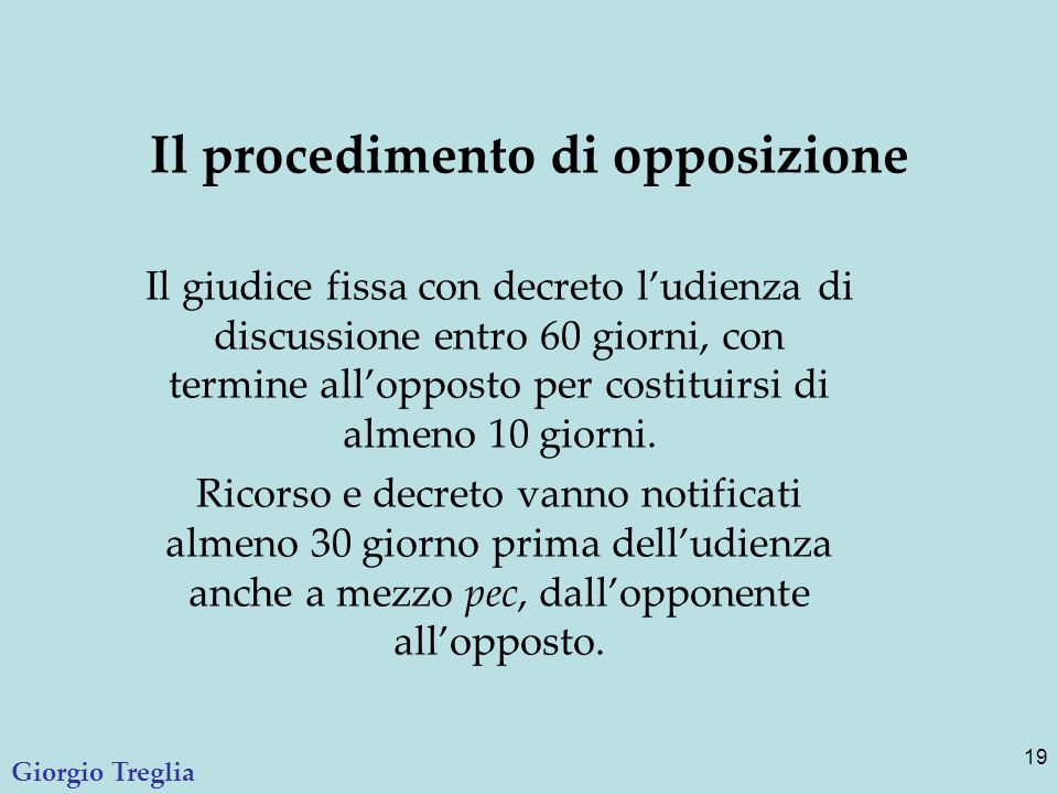 Il procedimento di opposizione