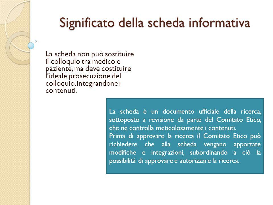 Significato della scheda informativa