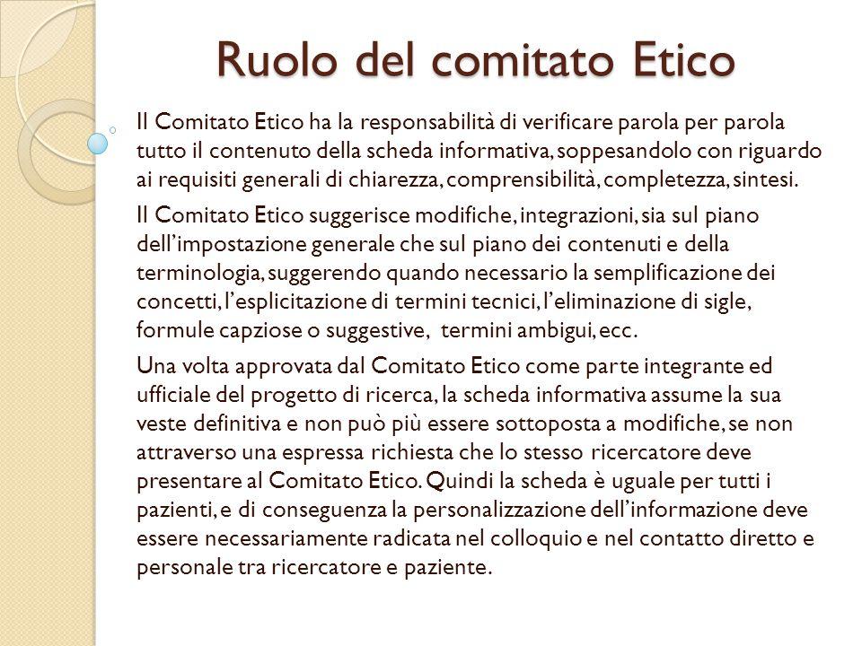 Ruolo del comitato Etico