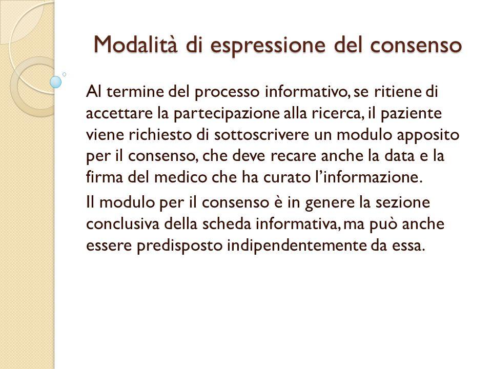 Modalità di espressione del consenso