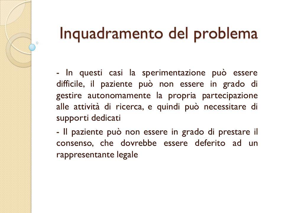 Inquadramento del problema