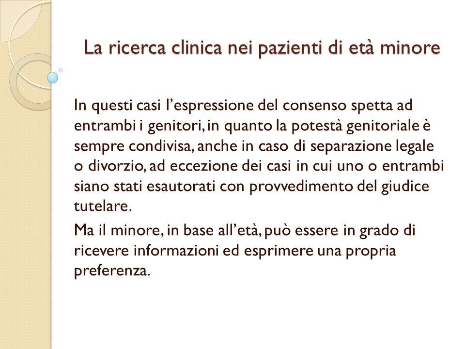 La ricerca clinica nei pazienti di età minore