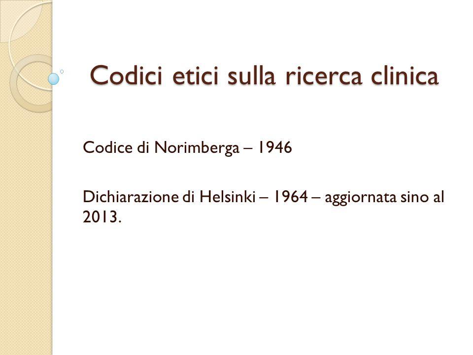 Codici etici sulla ricerca clinica