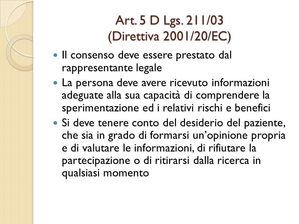 Art. 5 D Lgs. 211/03 (Direttiva 2001/20/EC)