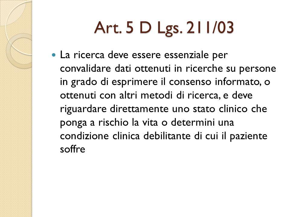Art. 5 D Lgs. 211/03