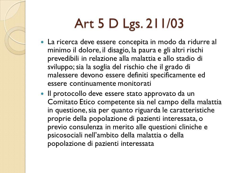 Art 5 D Lgs. 211/03
