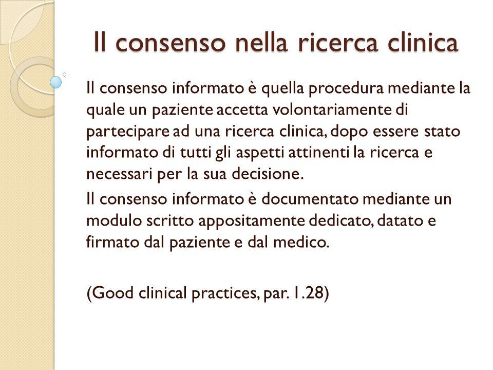 Il consenso nella ricerca clinica