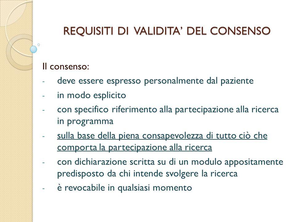 REQUISITI DI VALIDITA' DEL CONSENSO