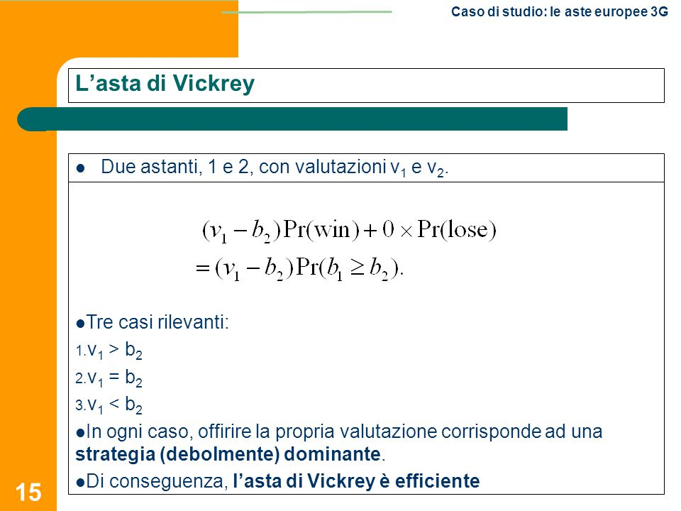 L'asta di Vickrey Due astanti, 1 e 2, con valutazioni v1 e v2.