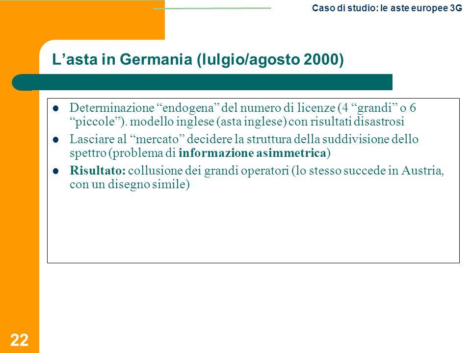 L'asta in Germania (lulgio/agosto 2000)