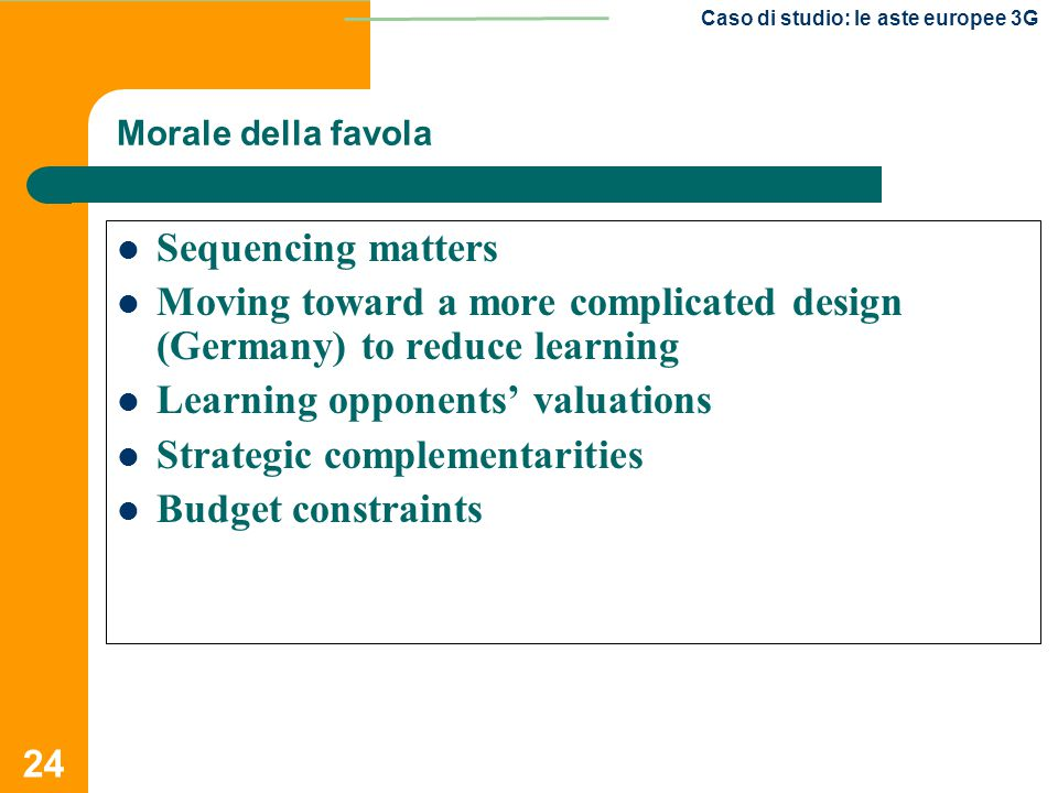 Moving toward a more complicated design (Germany) to reduce learning
