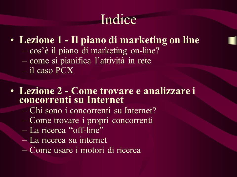 Indice Lezione 1 - Il piano di marketing on line