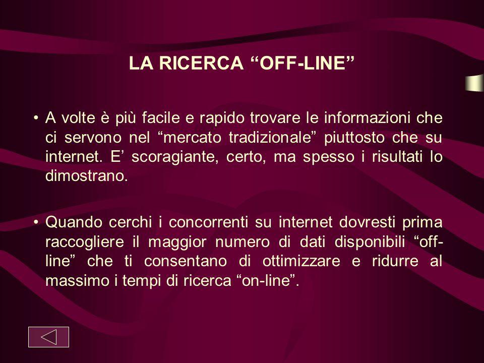 LA RICERCA OFF-LINE