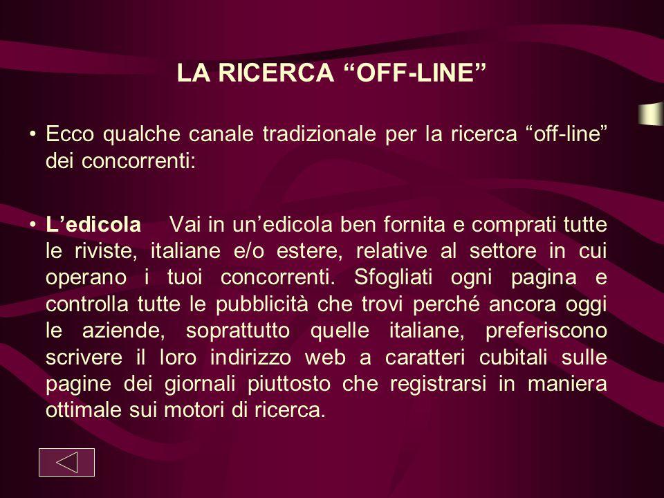 LA RICERCA OFF-LINE Ecco qualche canale tradizionale per la ricerca off-line dei concorrenti: