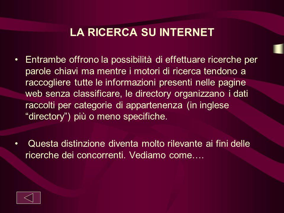 LA RICERCA SU INTERNET