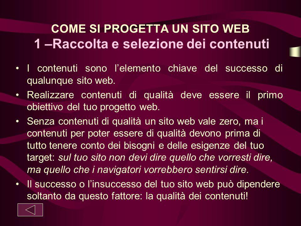 COME SI PROGETTA UN SITO WEB 1 –Raccolta e selezione dei contenuti