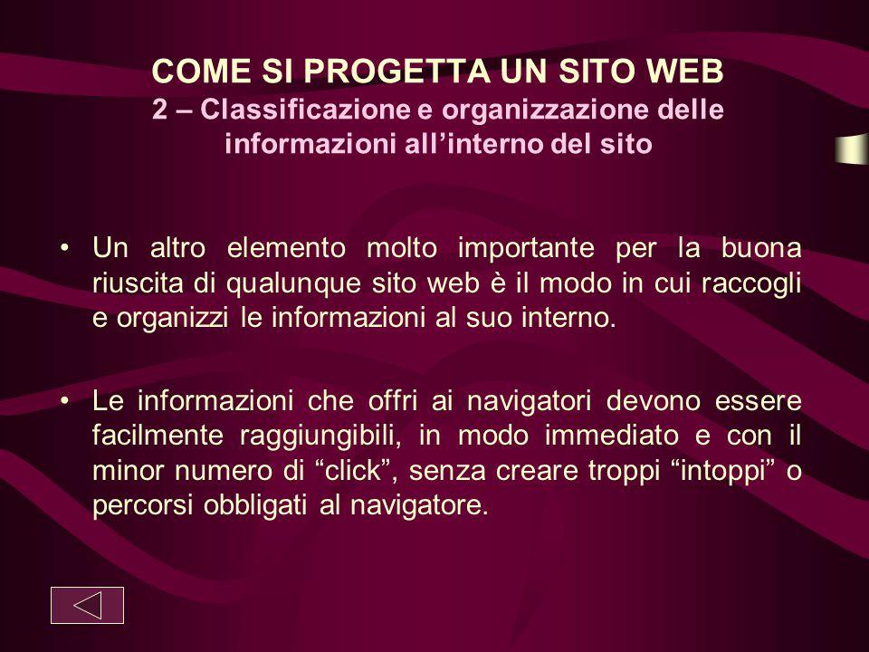 COME SI PROGETTA UN SITO WEB 2 – Classificazione e organizzazione delle informazioni all'interno del sito
