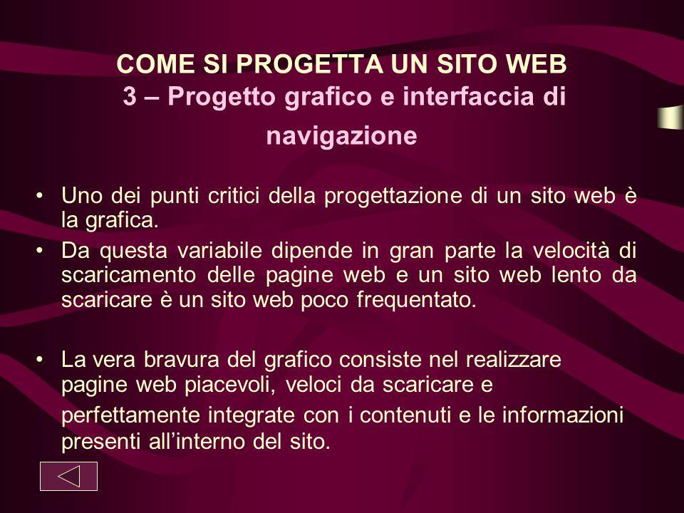 COME SI PROGETTA UN SITO WEB 3 – Progetto grafico e interfaccia di navigazione