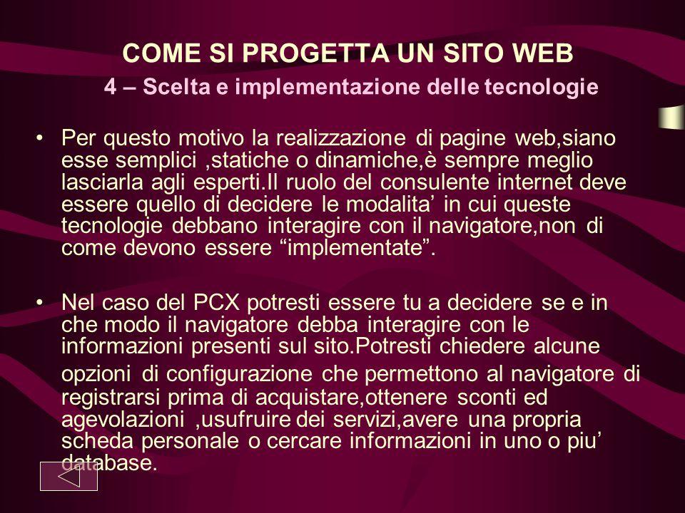 COME SI PROGETTA UN SITO WEB 4 – Scelta e implementazione delle tecnologie