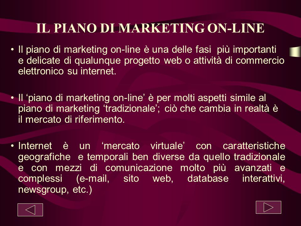 IL PIANO DI MARKETING ON-LINE