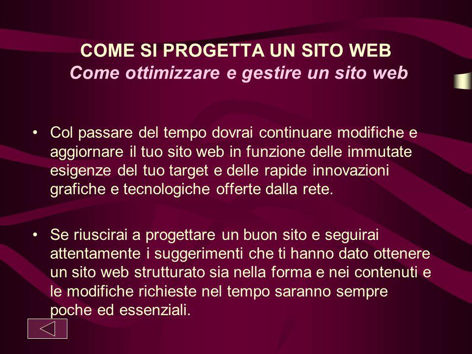 COME SI PROGETTA UN SITO WEB Come ottimizzare e gestire un sito web