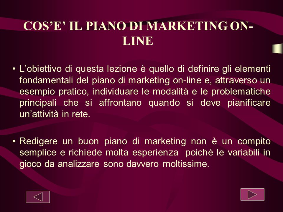 COS'E' IL PIANO DI MARKETING ON-LINE