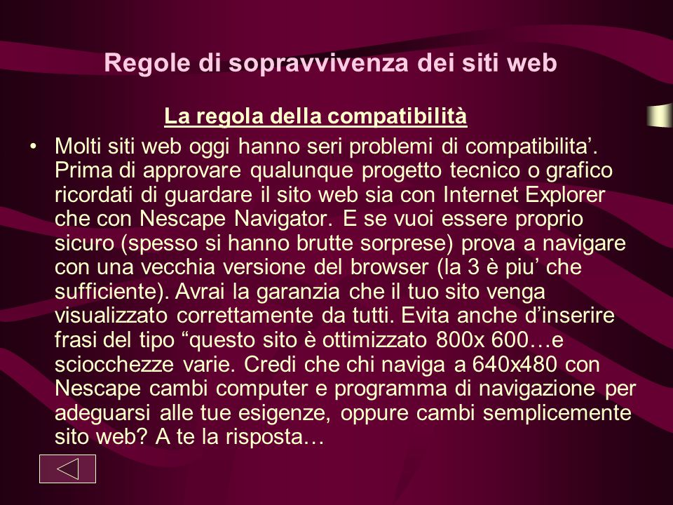 Regole di sopravvivenza dei siti web