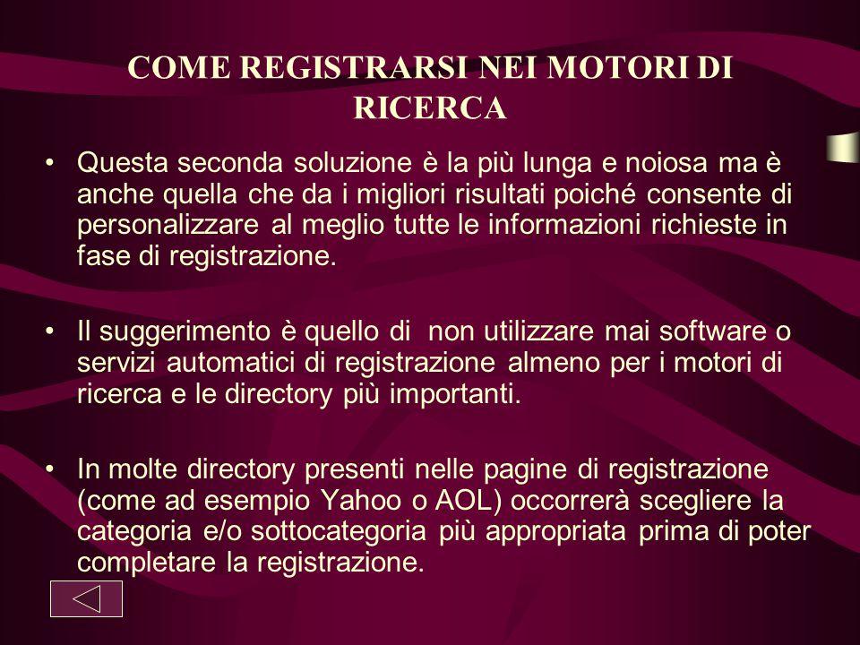 COME REGISTRARSI NEI MOTORI DI RICERCA