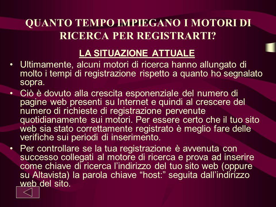 QUANTO TEMPO IMPIEGANO I MOTORI DI RICERCA PER REGISTRARTI