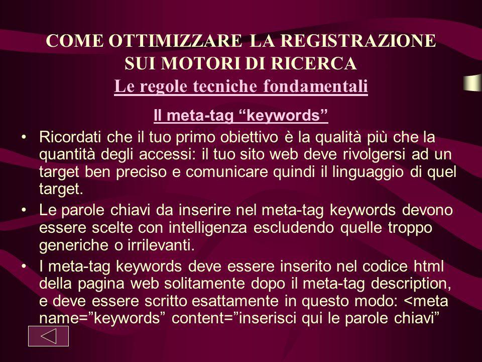 Il meta-tag keywords