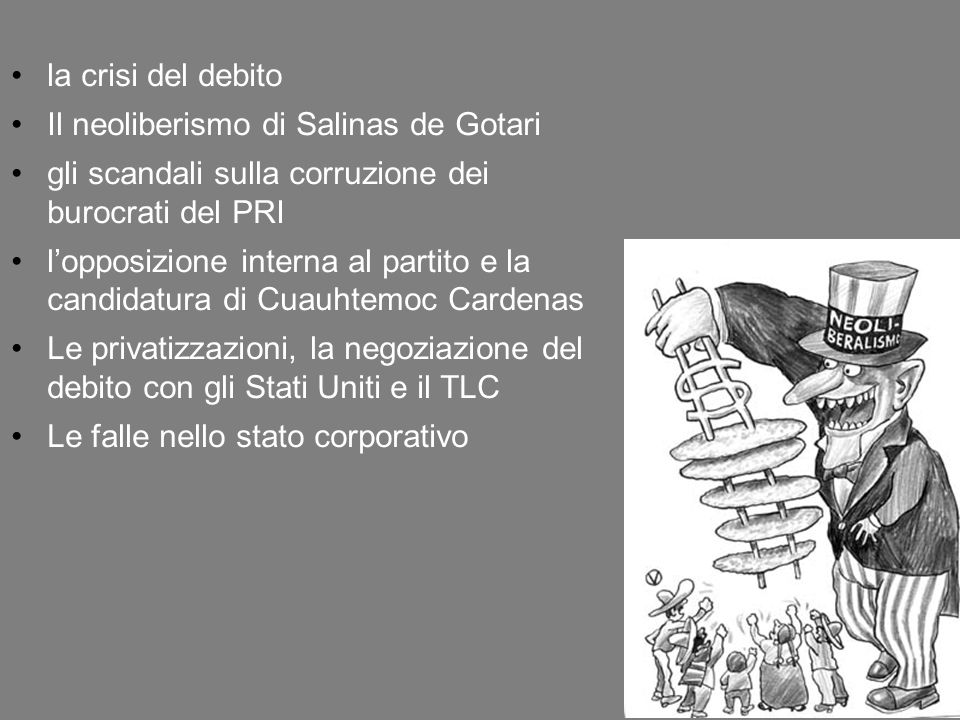 la crisi del debito Il neoliberismo di Salinas de Gotari. gli scandali sulla corruzione dei burocrati del PRI.
